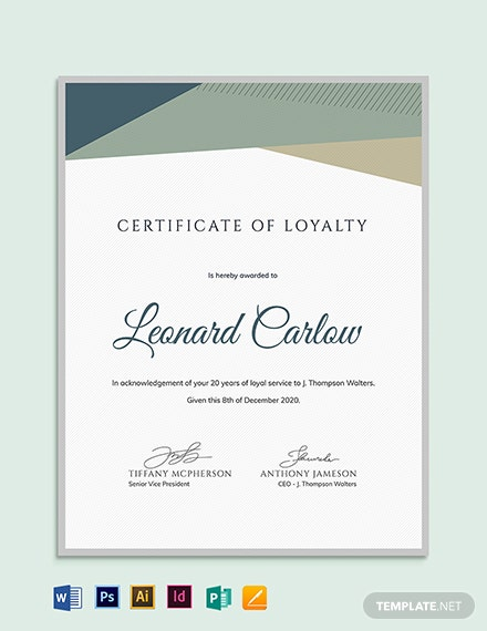 Loyalty Award Certificate Example