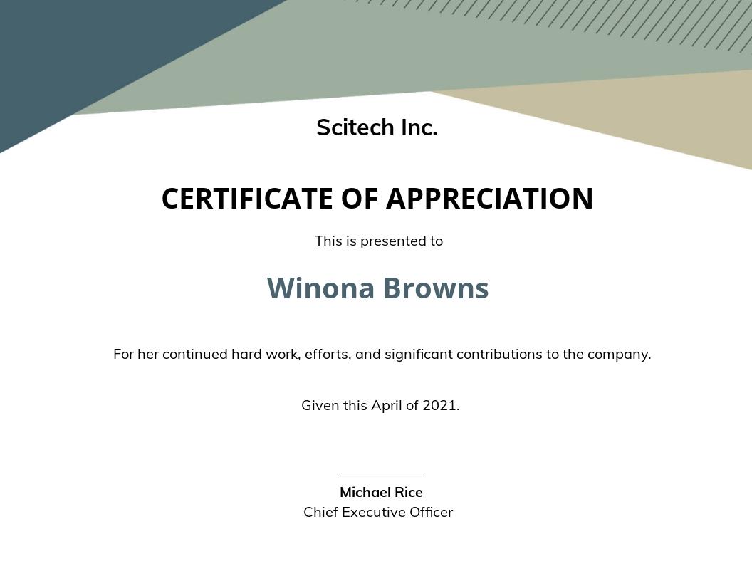 Loyalty Award Certificate Example