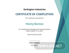 Management Training Certificate Template