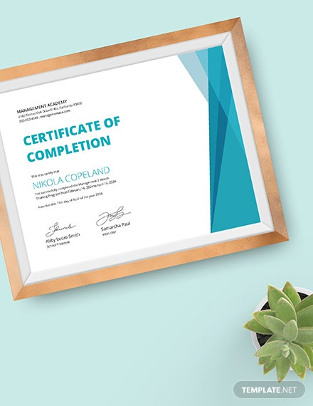 Sample Management Training Certificate