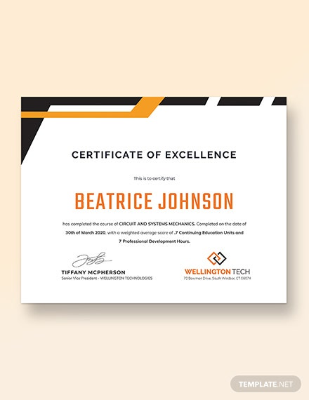 Training Excellence Award Certificate Download