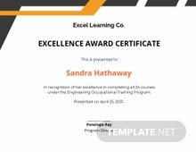 Training Excellence Award Certificate Template