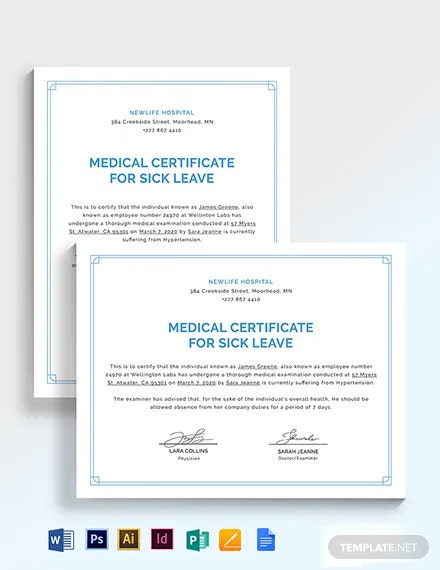 Medical Certificate Template For Sick Leave Template