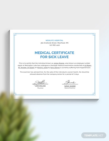 Sample Medical Certificate Template For Sick Leave