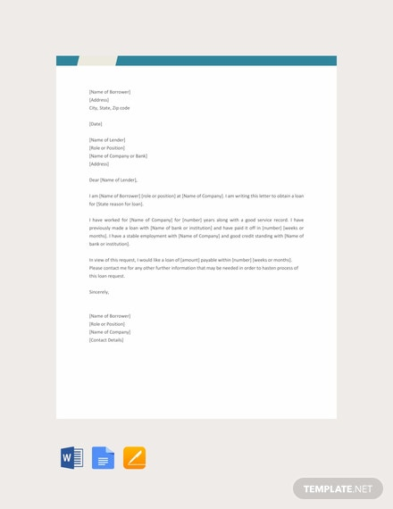Free Loan Request Letter Template