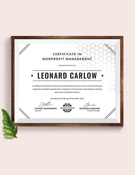 certificate nonprofit management template