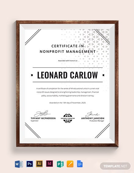 Nonprofit Management Certificate Template