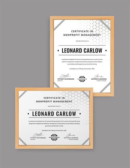 Nonprofit Management Certificate Template