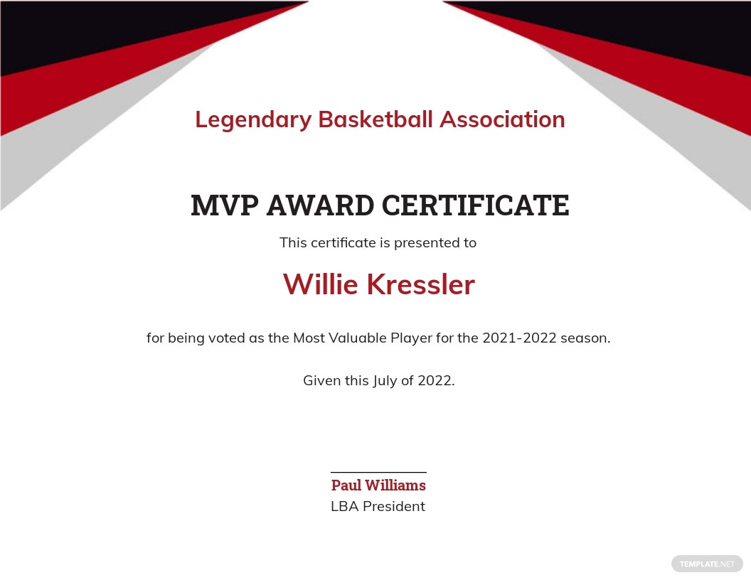 Player Award certificate Template