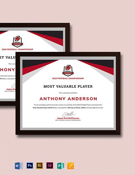 Player Award certificate Template