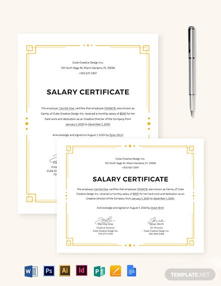 Salary Certificate Template