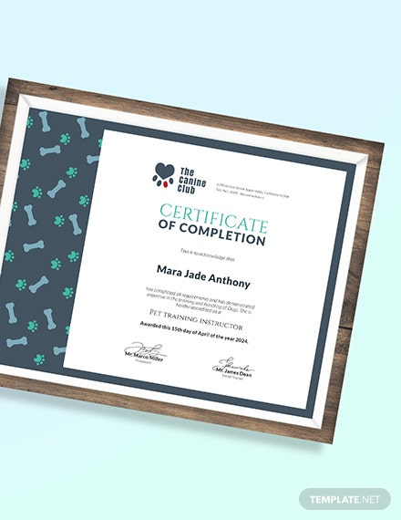 Sample Service Training Certificate
