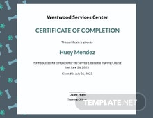 Service Training Certificate Template