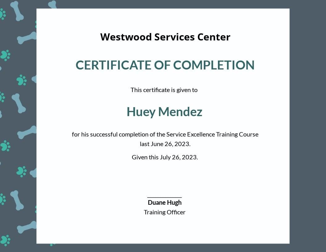 Service Training Certificate Template