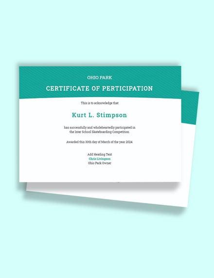 Skateboarding Certificate Template