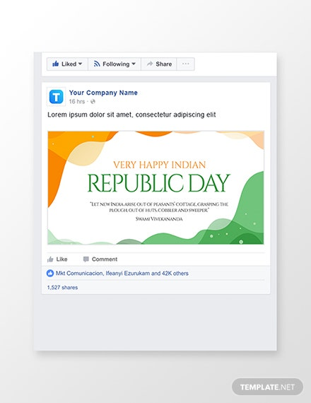 Free Republic Day Facebook Post Template