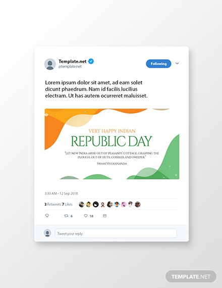 Free Republic Day Twitter Post Template