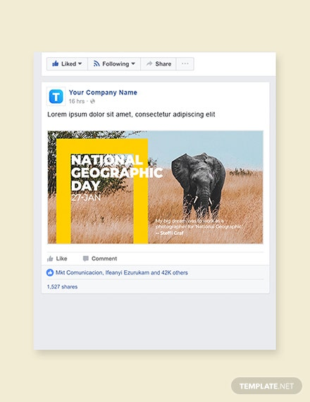 Free National Geographic Day Facebook Post Template