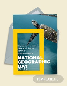 Free National Geographic Day Greeting Card Template