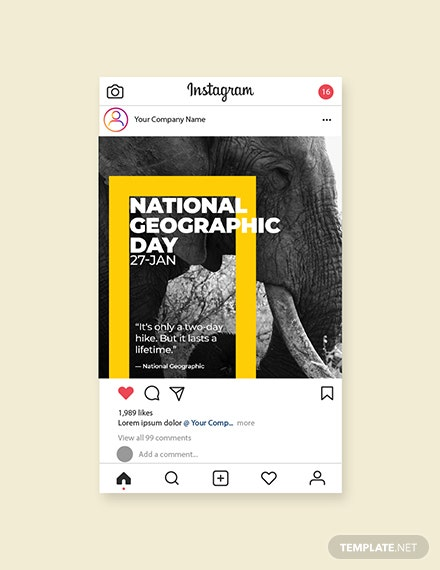 Free National Geographic Day Instagram Post Template
