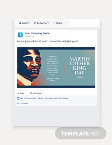 Free Martin Luther King Day Facebook Post Template