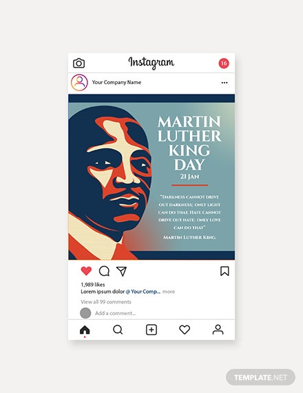 Free Martin Luther King Day Instagram Post Template