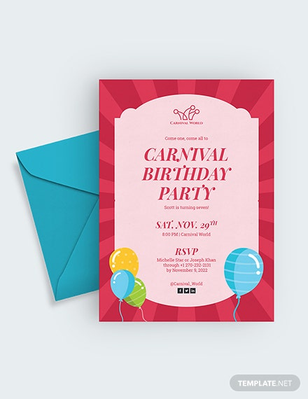 Carnival Birthday Party Invitation Download