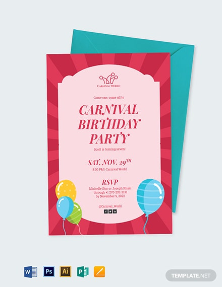 Carnival Birthday Party Invitation Template