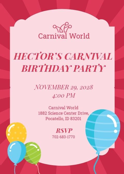 Carnival Birthday Party Invitation Template