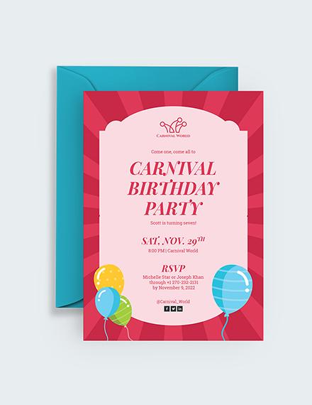 Sample Carnival Birthday Party Invitation