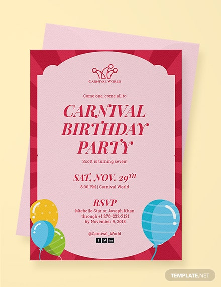 carnival birthday party invitation template download