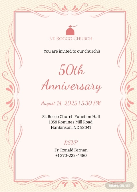 Church Anniversary Invitation Template