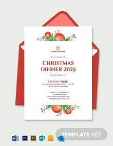 Corporate Christmas Dinner Invitation Template