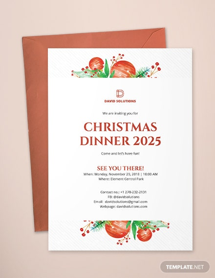 corporate christmas dinner invitation template download