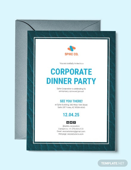 corporate dinner party template download