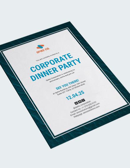 Sample Corporate Dinner Party Invitation