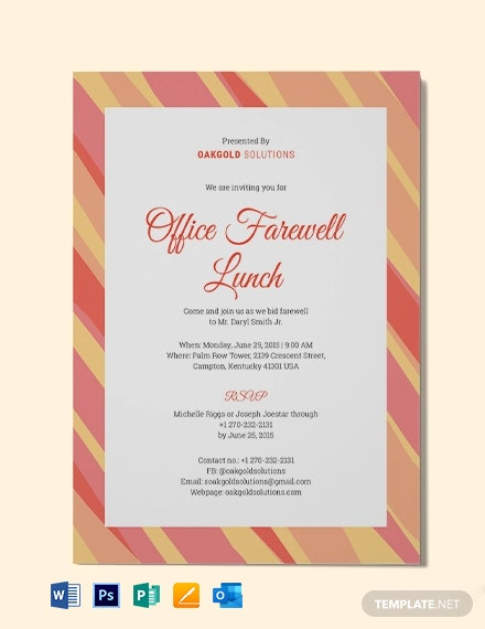 Office Farewell Lunch Invitation Template