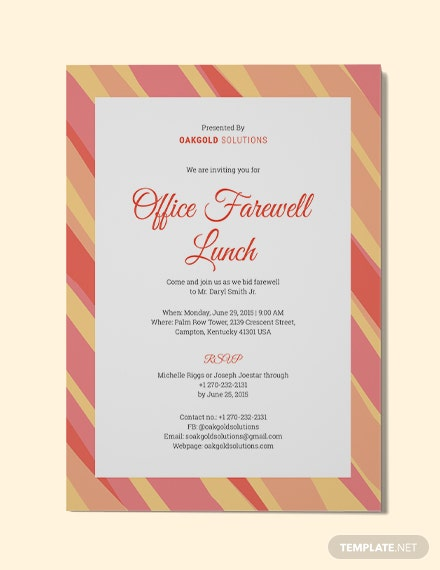 Office Farewell Lunch Invitation Template In Adobe Illustrator