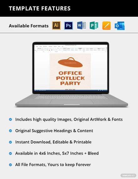 Editable Office Potluck Party Invitation