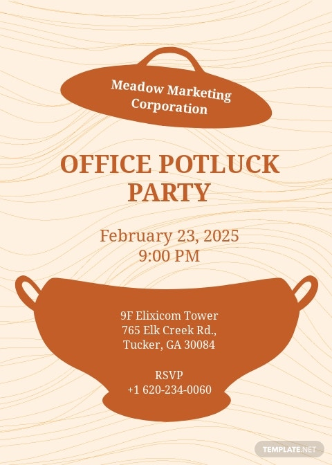 Office Potluck Party Invitation Template
