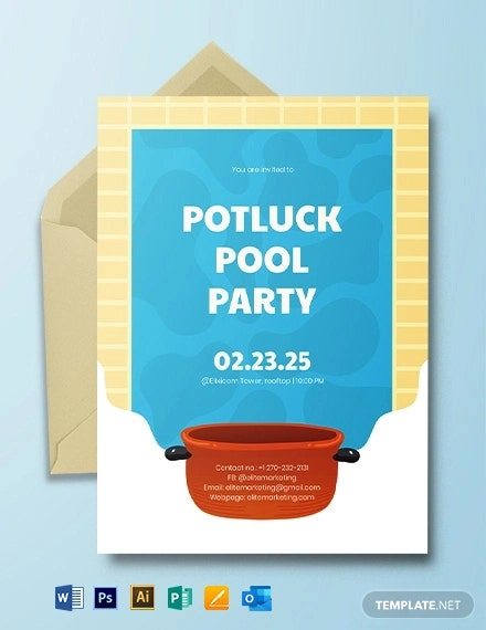 Potluck Pool Party Invitation Template