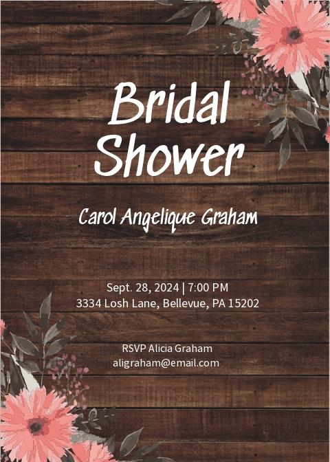 Rustic Bridal Shower Invitation Card Template.jpe