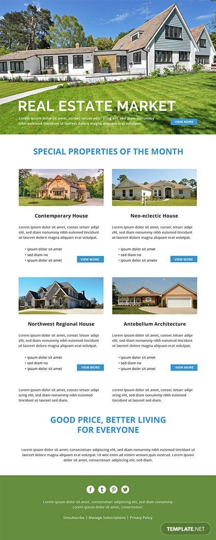 Free Monthly Real Estate Email Newsletter Template In Adobe - Monthly email newsletter template