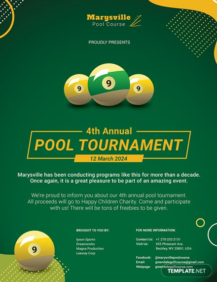pool tournament flyer template download