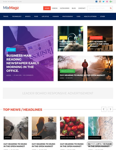 Free PSD Magazine Website Template