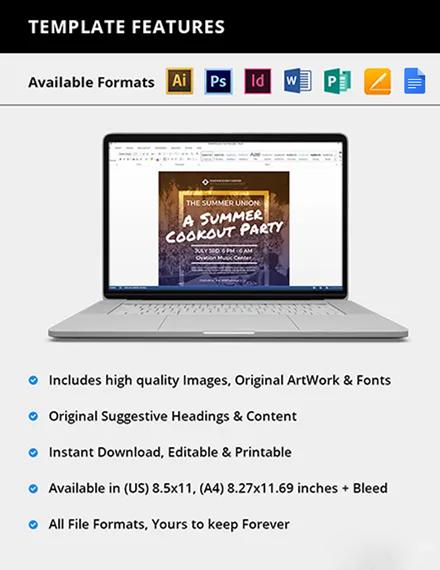 Editable Summer Cookout Flyer
