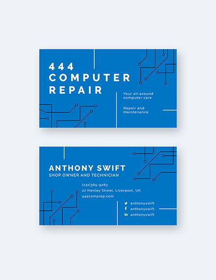 Computer Repair Shop Business Card Sample
