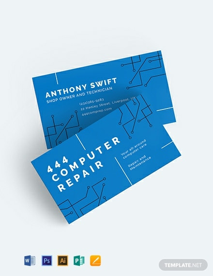 Computer Repair Shop Business Card Template