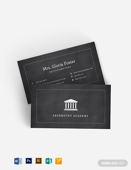 English Teacher Business Card Template