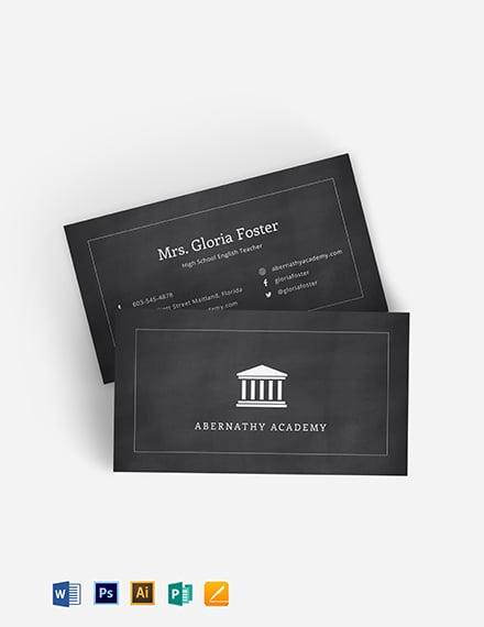 English Teacher Business Card Template